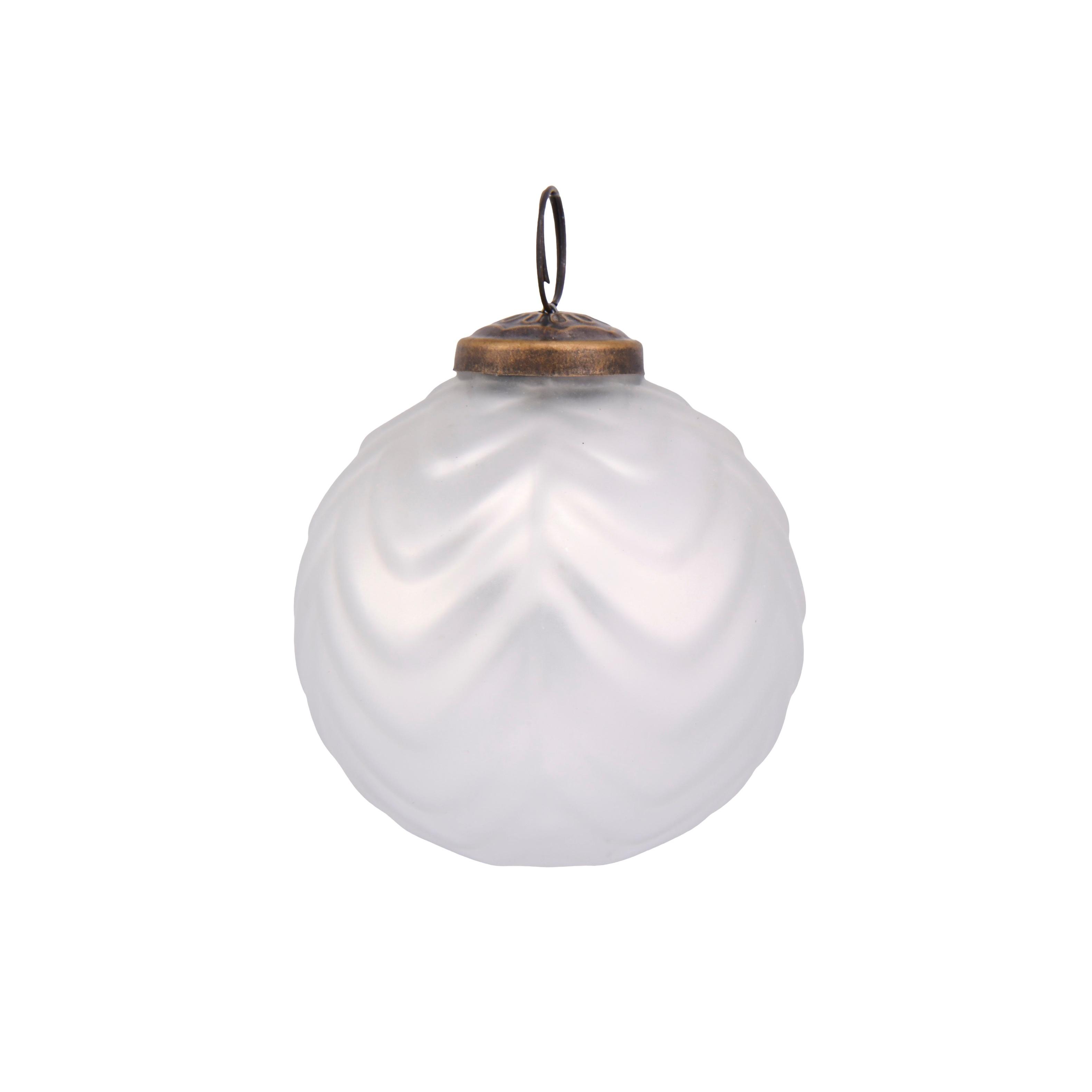 3in Mercury White Bauble Bronze Topper