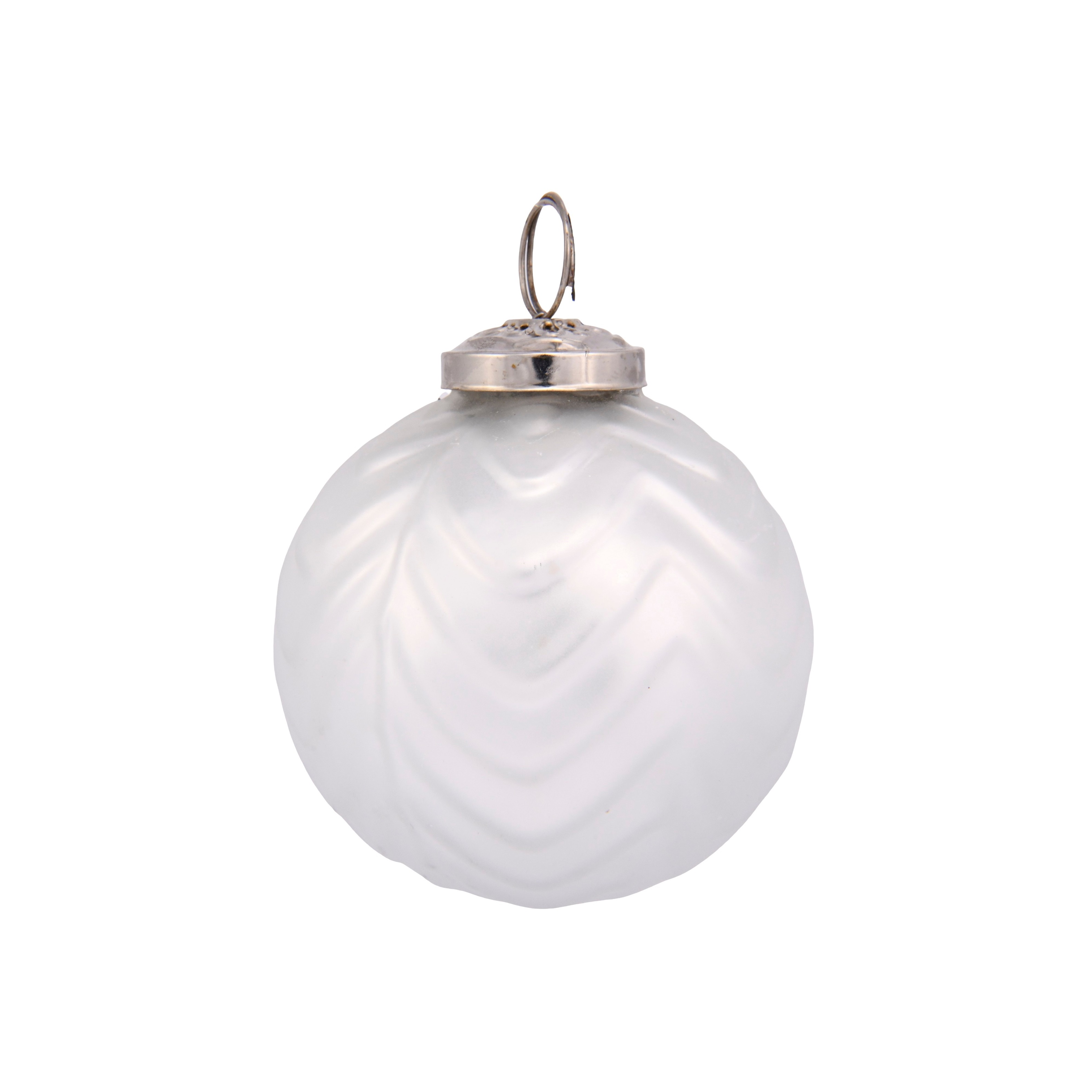 3in Mercury White Bauble Silver Topper