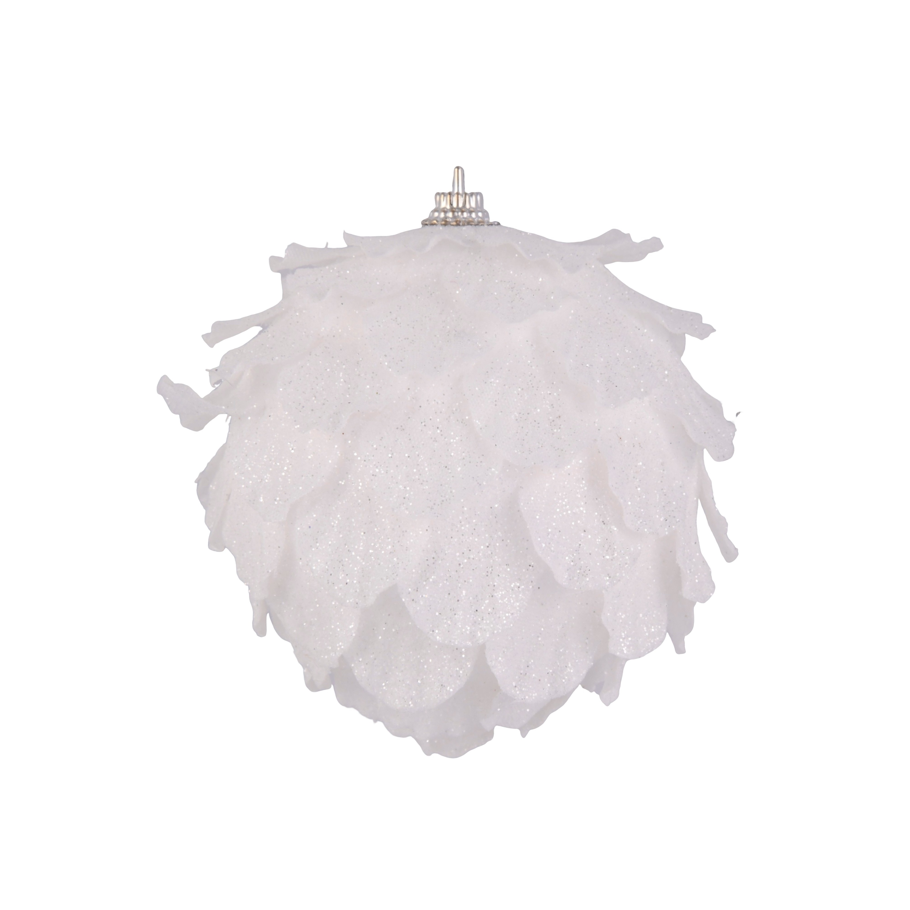 4in White Sparkly Pine Ornament
