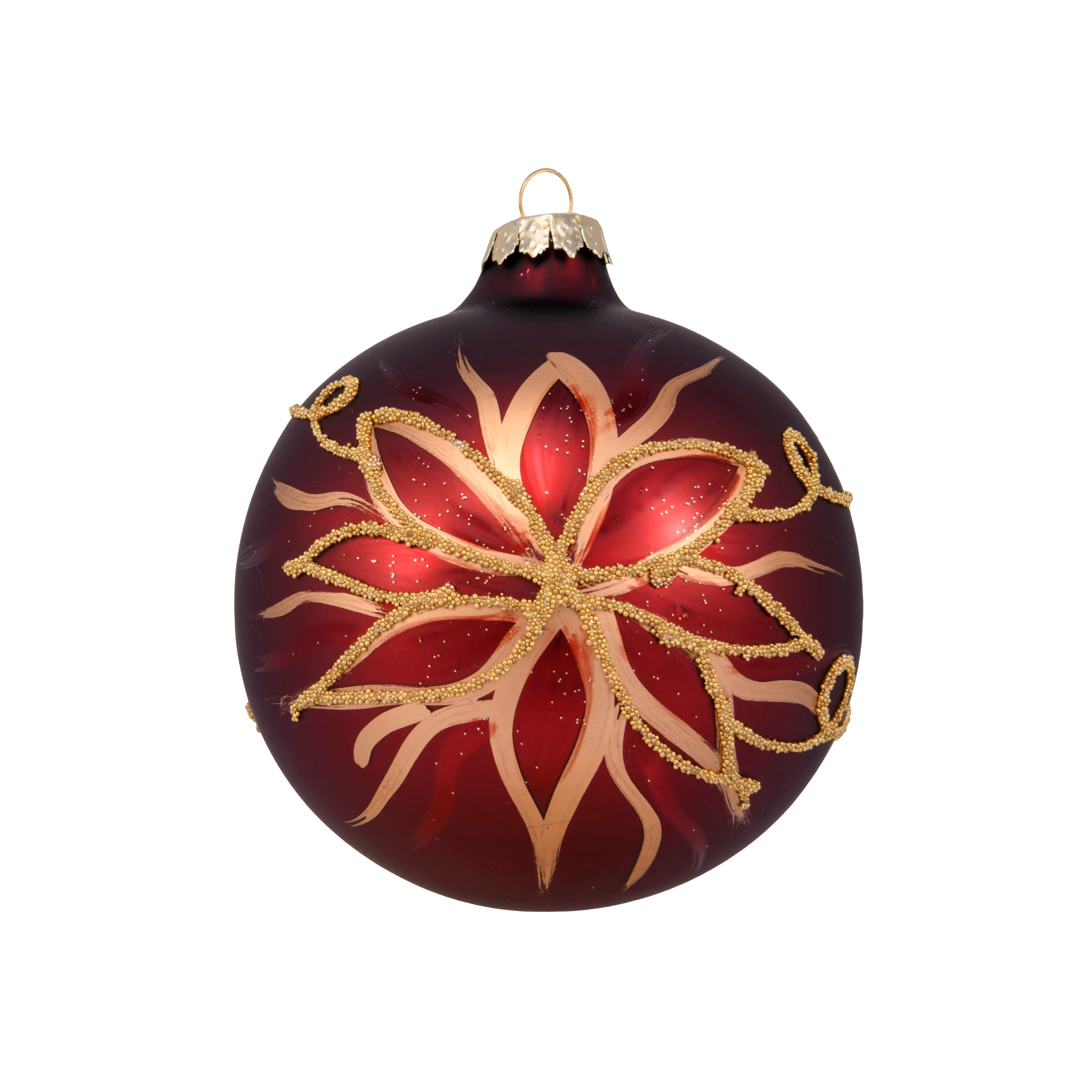 4in Hand Painted Flower Red Bauble