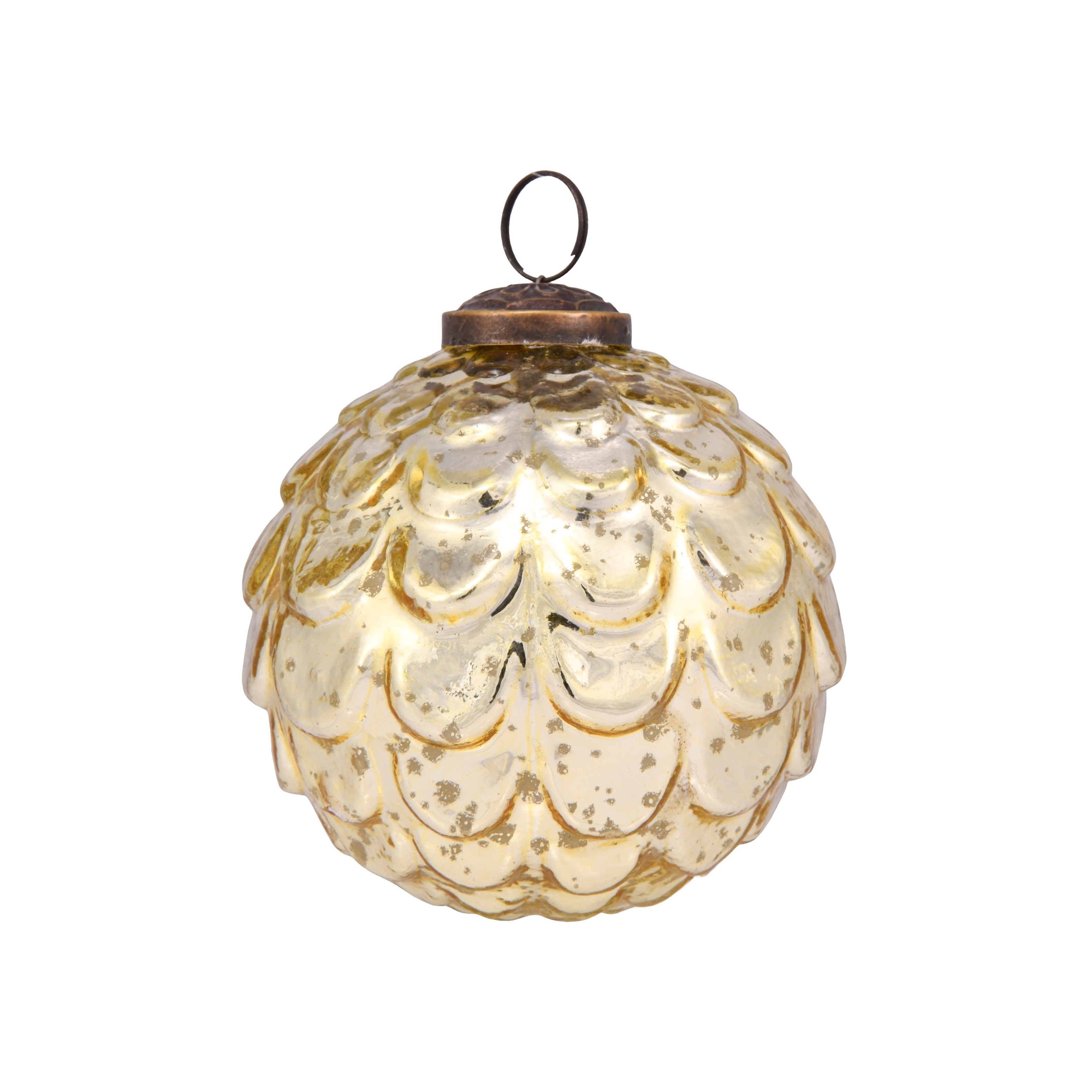 4in Mercury Gold Vintage Bauble