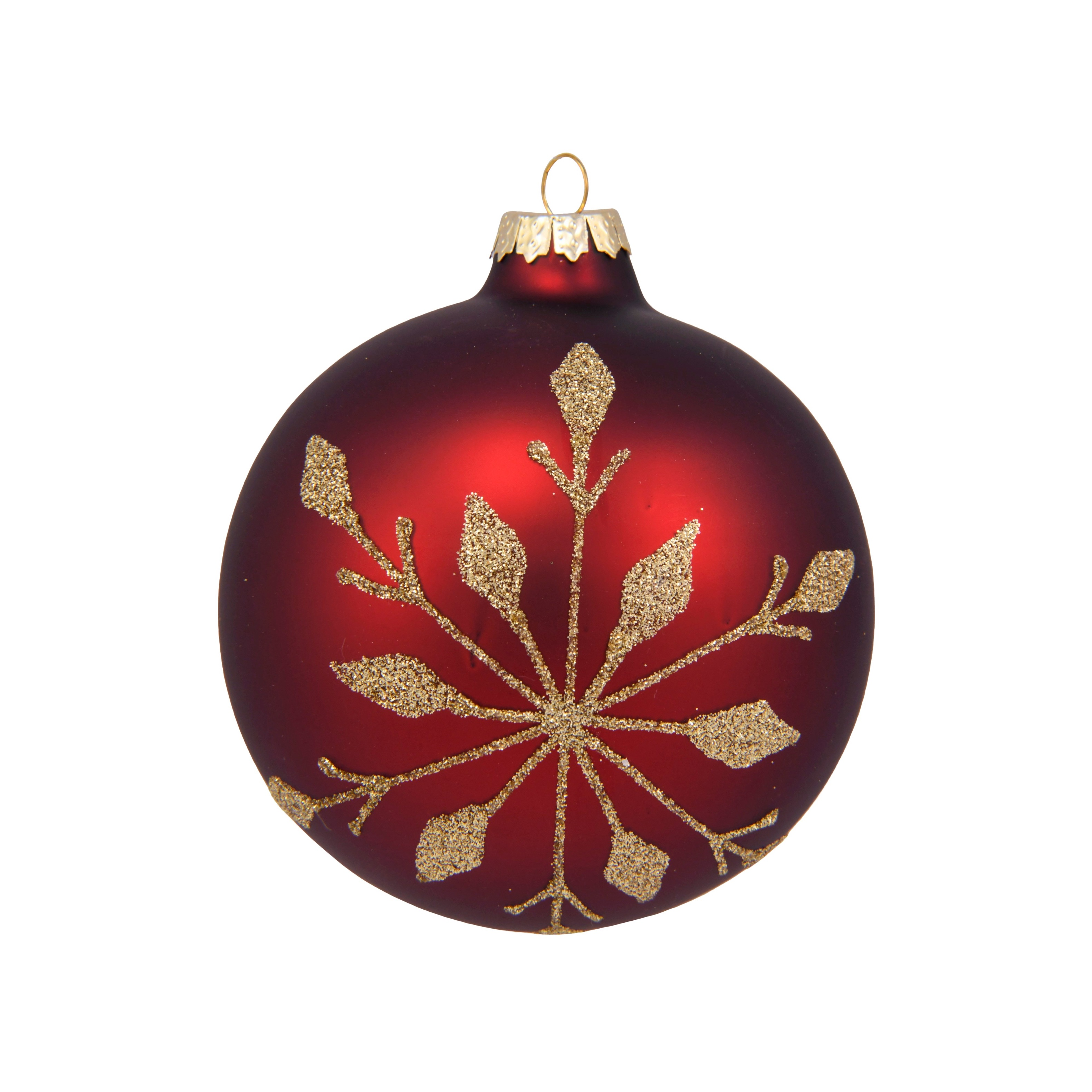 4in Gold Snowflake Burgundy Bauble