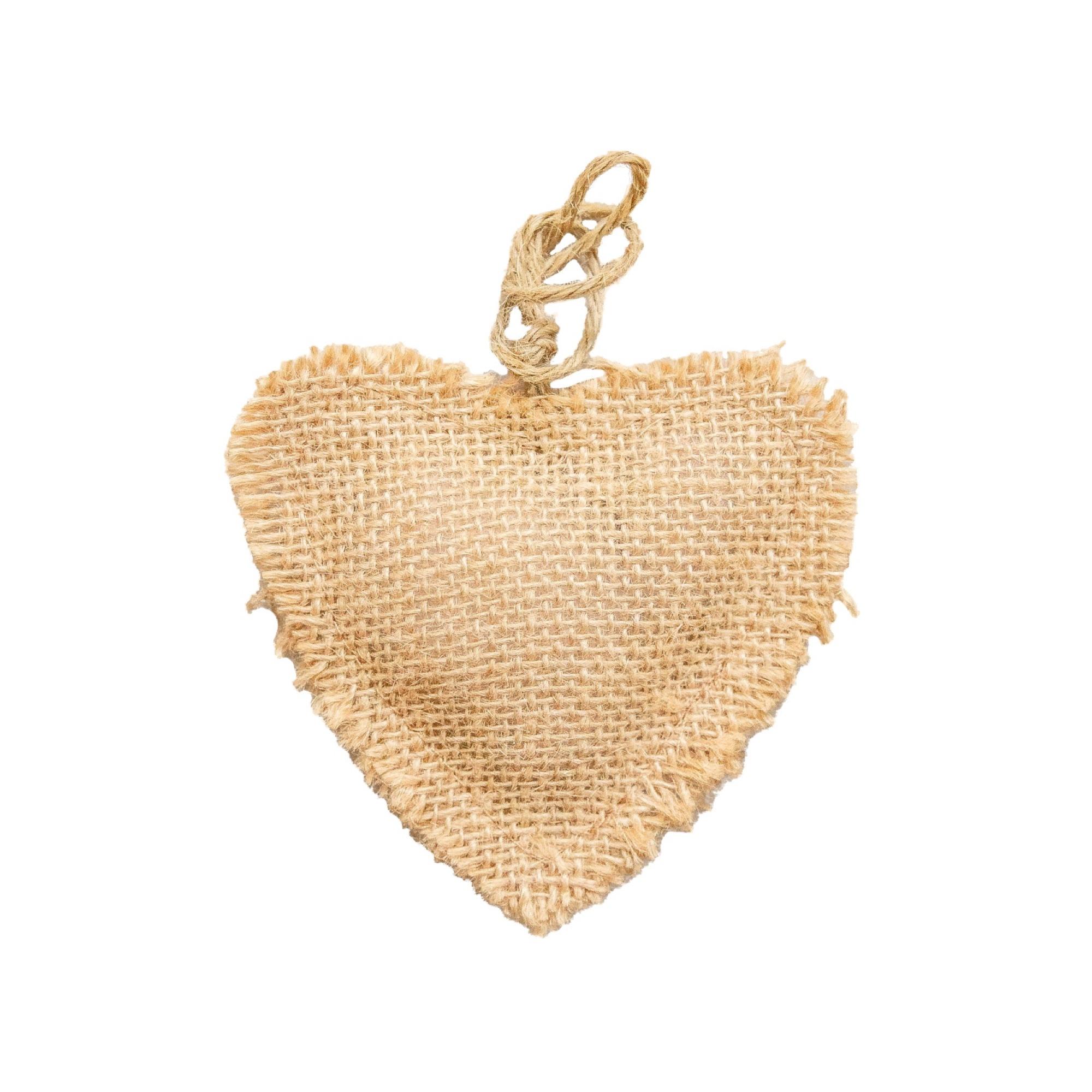 3.5in Burlap Heart Ornament
