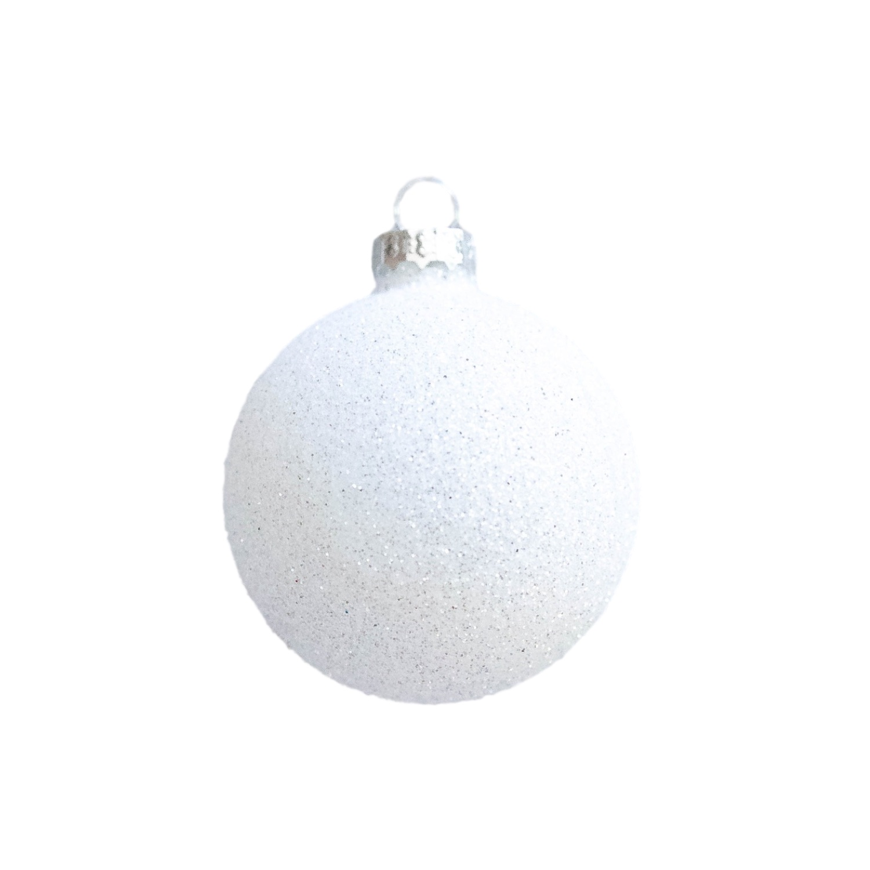 2.5in White Glitter Bauble