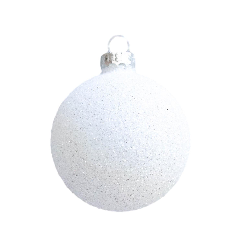 3in White Glitter Bauble
