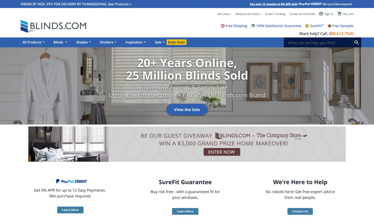 Blinds,com home page