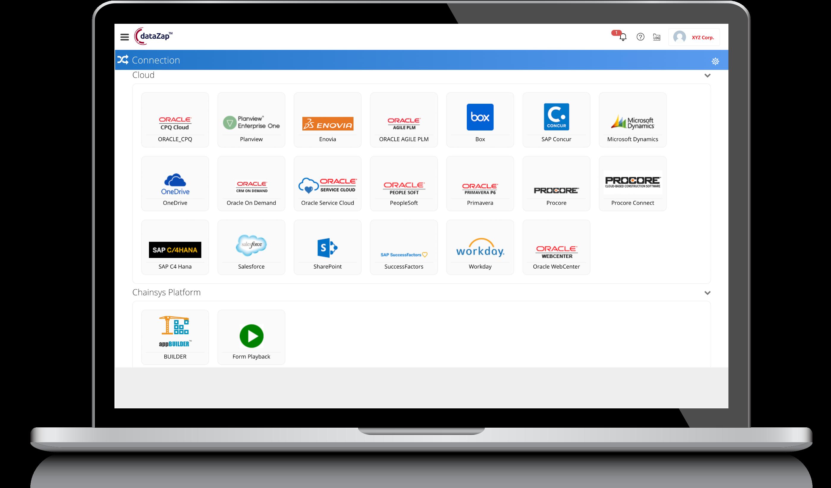 Enterprise connect to ERP, CRM, MES, HCM, PLM