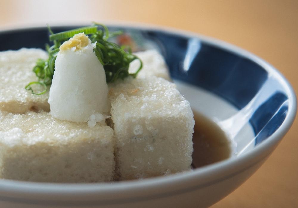 Agedashi Tofu, fried tofu with radish and ginger