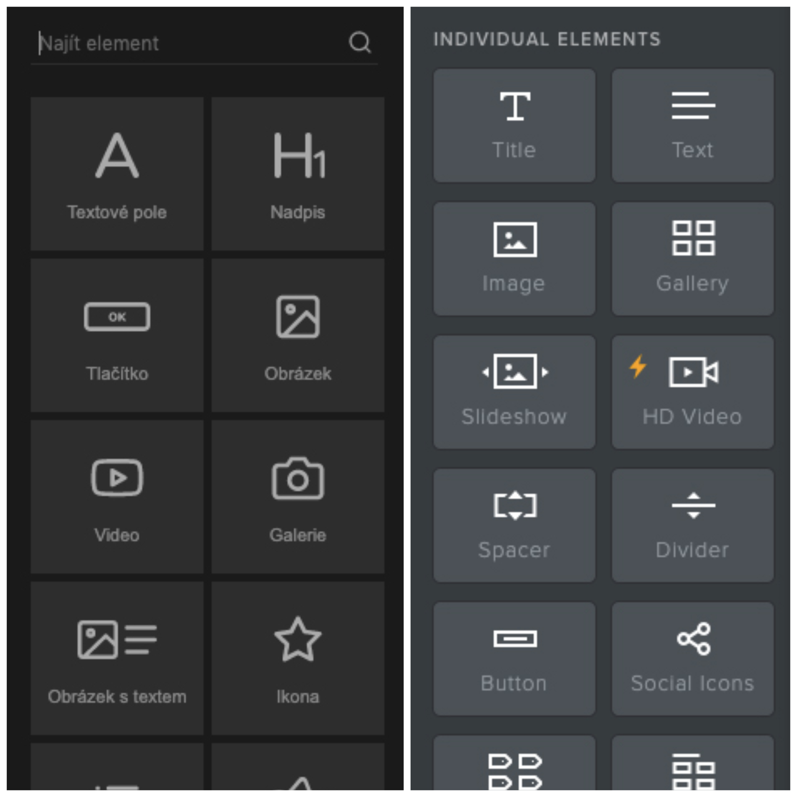 Editory nástrojů Mioweb a Weebly vedle sebe. Jsou si velmi podobné a mají velmi podobný design.