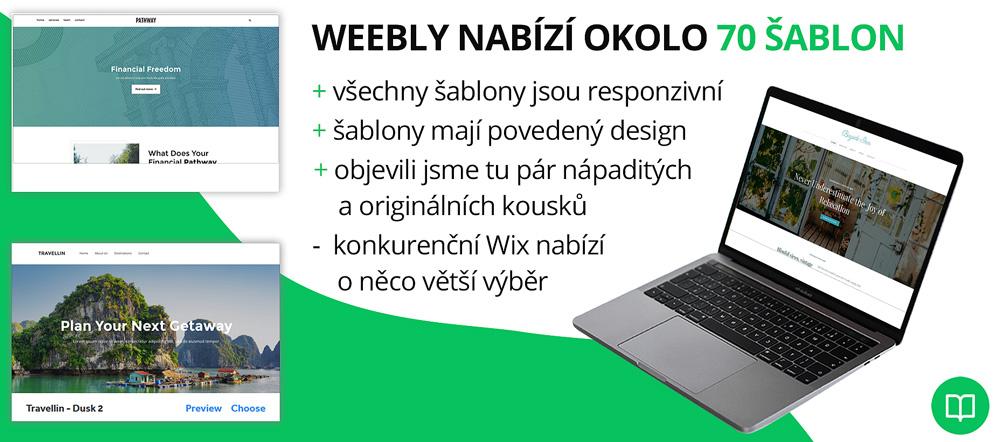 Infografika, která shrnuje kvalitu šablon od nástroje Weebly. Chválí hlavně responzivitu šablon a jejich design.