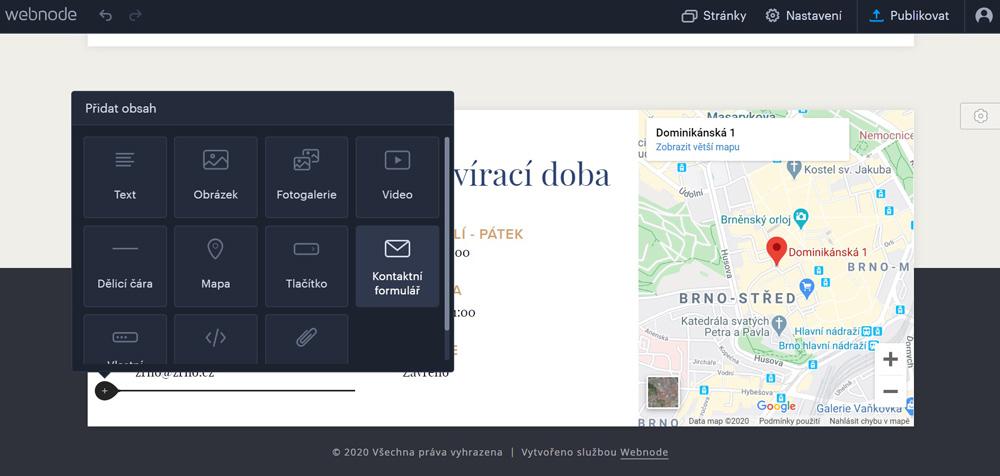 Editor nástroje Webnode, ve kterém probíhá přidávání prvků. Na výběr jsou prvky jako Obrázek, Fotogalerie, Video a další.