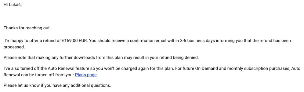 Email, který přišel ze Shutterstocku. Informuje nás, že nám Shutterstock vrátí jedno měsíční předplatné v hodnotě 159 euro.