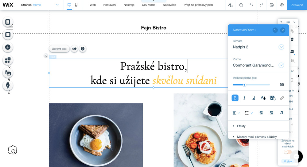 Editor nástroje Wix, ve kterém je otevřena šablona pro bistra a kavárny. Na šabloně jsou dvě fotografie jídla a text.