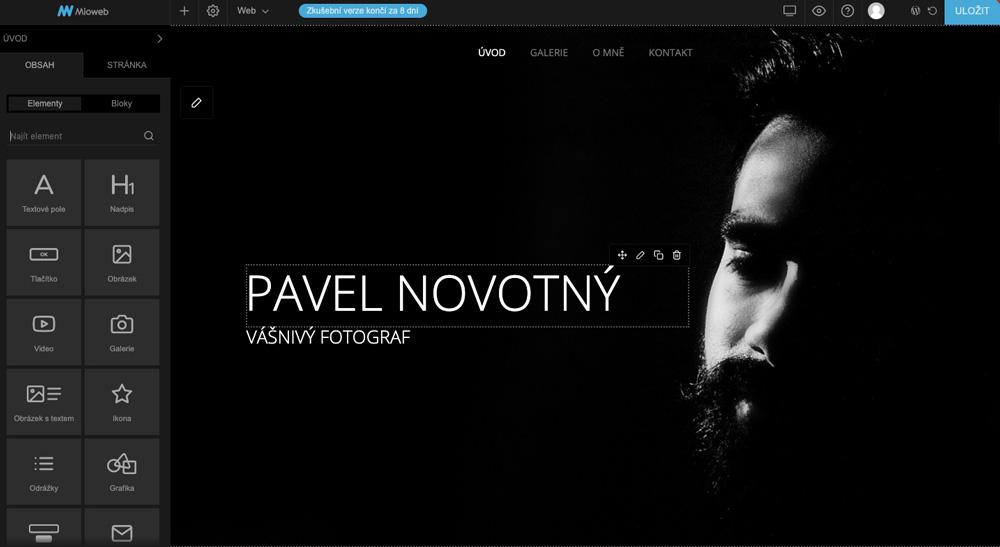 Editor nástroje Mioweb se šablonou pro fotografy. Na šabloně dominuje černá barva a je na ní text bílý text a tvář fotografa.