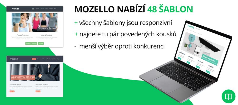 Infografika, která hodnotí kvalitu šablon nástroje Mozello. Chválí responzivitu, nelíbí se jí menší výběr oproti konkurenci.
