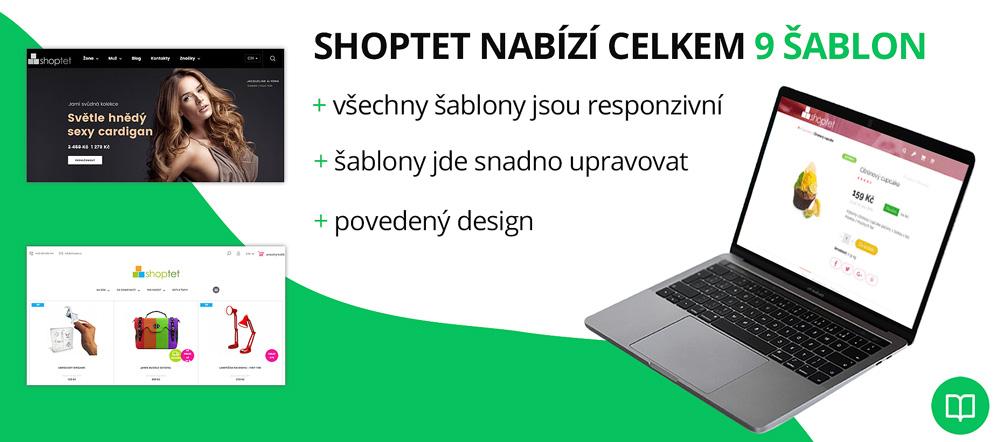 Infografika, která shrnuje kvalitu šablon od služby Shoptet. Chválí hlavně responzivitu a povedený design.