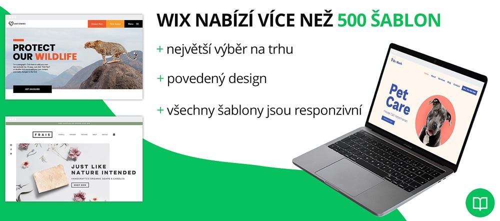 Infografika, která hodnotí šablony od Wix. Jako plusy uvádí responzivitu šablon, velký výběr a povedený design. Mínusy nejsou