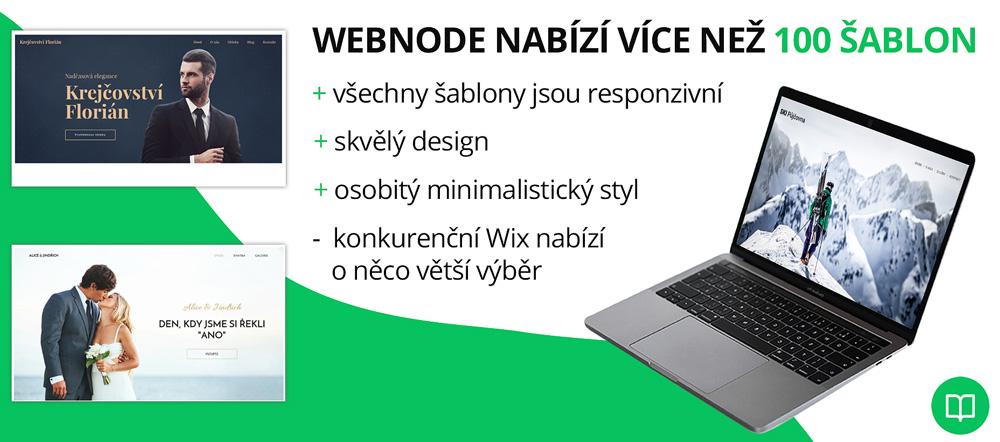 Infografika hodnotící šablony od Webnode. Jako plusy uvádí například skvělý design. Upozorňuje na Wix, který má větší výběr.