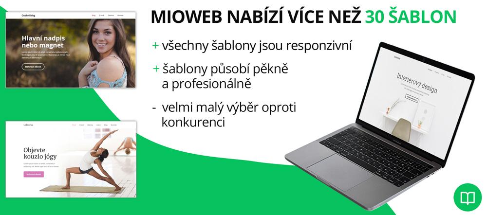 Infografika hodnotící kvalitu šablon nástroje Mioweb. Chválí například responzivitu, ale upozorňuje na malý výběr šablon.
