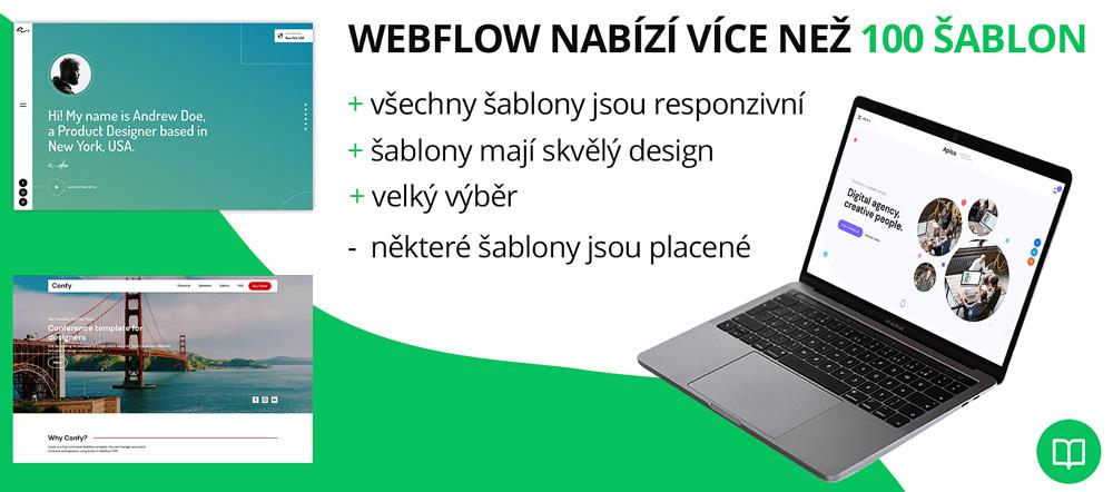Infografika hodnotící kvalitu šablon od Webflow. Chválí velký výběr a nelíbí jí, že některé šablony jsou placené.