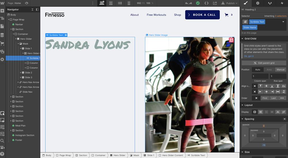 Editor nástroje Webflow, ve kterém je otevřena šablona s motivy fitness. Je na ní mladá žena. Prvky editoru jsou po stranách.