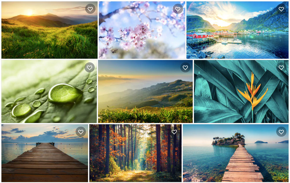 Koláž fotografií s tématikou přírody, které je možné najít na fotobance Shutterstock. Celkem devět krásných fotografií.