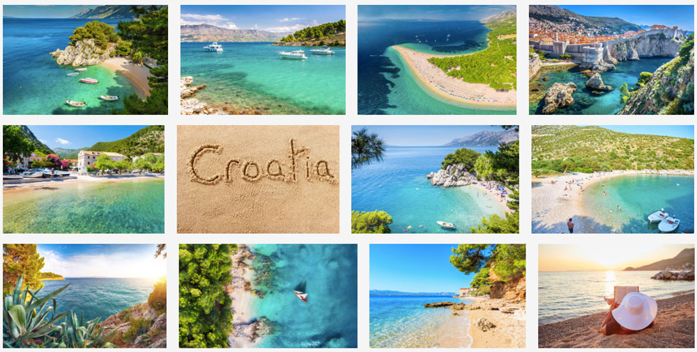 Koláž z fotografií pláží, které jsme našli na fotobance Adobe Stock. Celkem dvanáct krásných a optimistických fotografií.