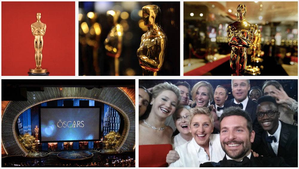 Koláž z fotografií s tématikou Oscarů, které jsme našli na fotobance Getty Images. Koláž je z celkem pěti fotografií.