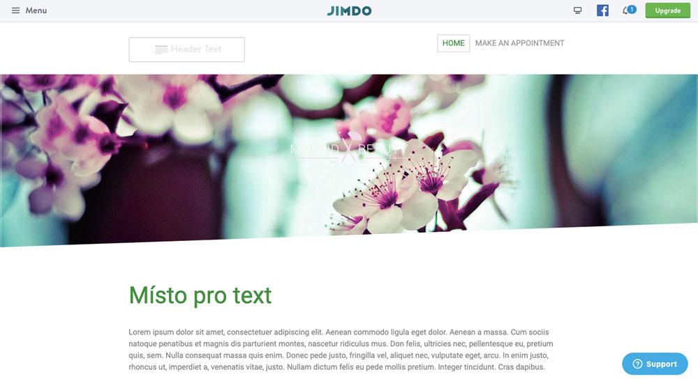 Editor nástroje Jimdo, ve kterém je otevřena šablona. Hlavním motivem jsou květy. Šablona nemá úplně moderní design.