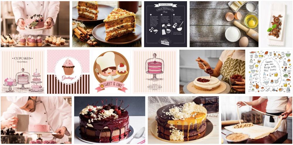 Koláž fotografií s motivem pečení dortu, které jsme objevili na fotobance Depositphotos. Fotky, u kterých se sbíhají sliny.