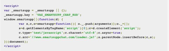 Ukázka kódu, který je potřeba použít při integraci služby Smartsupp na váš web. Jedná se o skript, který má několik řádků.