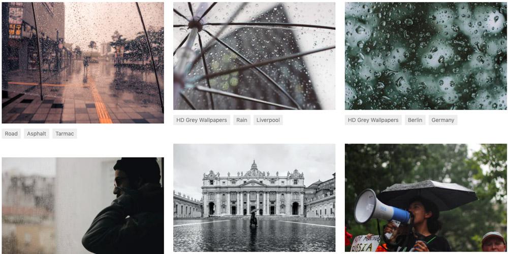 """Šest fotografií deštivého dne na free fotobance Unsplash, které se objeví po zadání výrazu """"rainy day""""."""