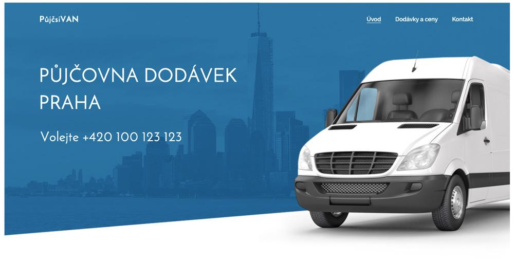 Modrá a elegantní šablona od Webnode pro půjčovnu dodávek.