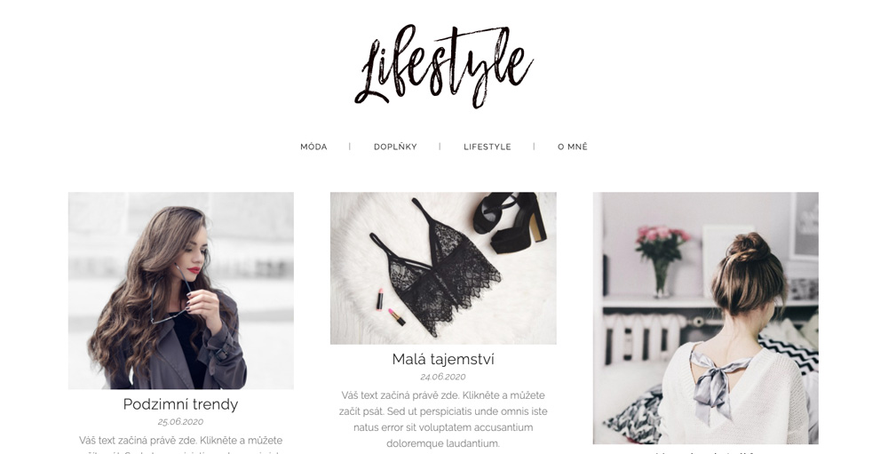 Šablona pro lifestylový blog od služby Webnode. Blog má elegantní design, ve kterém je místo pro hodně obrázků.