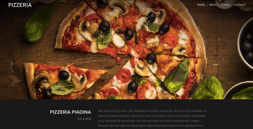 Šablona pro pizzerii od služby Webnode. Hlavním motivem je velká fotka pizzy. Nechybí menu a prostor pro text.