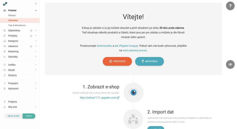 Uživatelské rozhraní eshopového nástroje UPgates, v němž probíhá nastavování a úpravy eshopu.