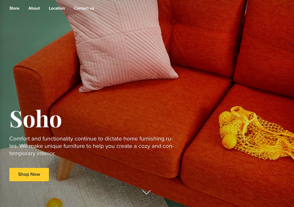 Jedna ze šablon od Ecwid. Šablona je elegantní - dominuje červená barva, druhou nejvýraznější barvou je žlutá.