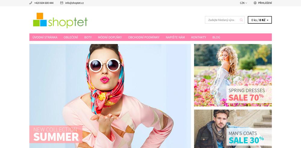 Šablona Soul od Shoptetu. Šablona je pěkná, má růžové menu a stylové fotky, na kterých jsou dobře oblečení lidé.