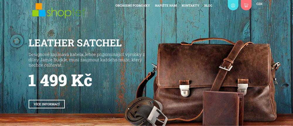 Šablona Echo od Shoptetu. Šablona je stylová, dominuje jí velká fotka pánské kožené tašky, u níž je cenovka 1 499 korun.