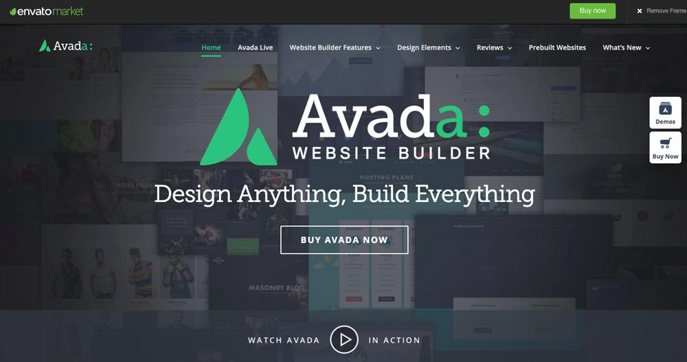 Šablona Avada, která má velmi elegantní design. Avada je nejprodávanější šablonou na tržišti Theme Forest.