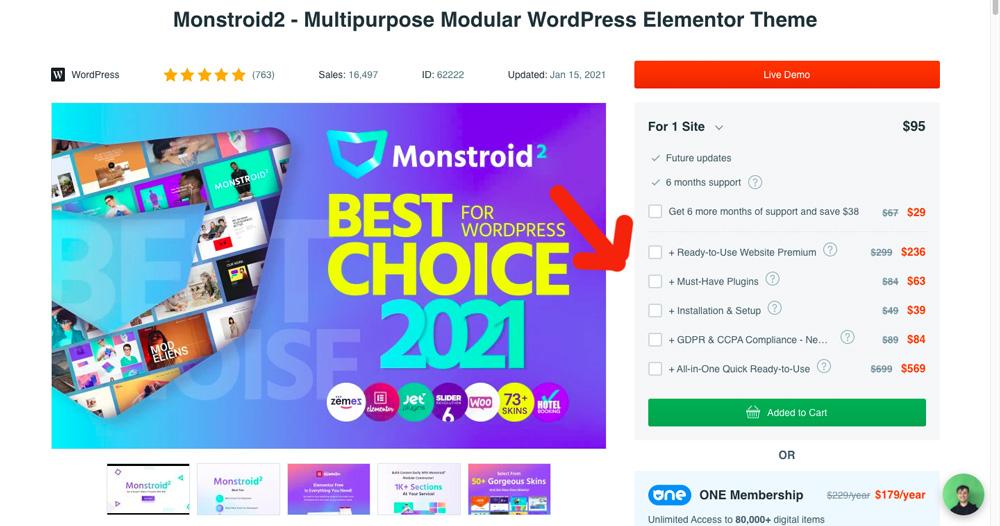 Stránka na webu TemplateMonster, kde probíhá nákup webové šablony. TemplateMonster nám k ní nabízí spoustu doplňkových služeb.