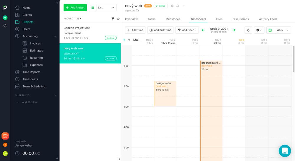 Dashboard CRM nástroje Paymo, ve kterém probíhají všechny činnosti jako je task management nebo trackování času.