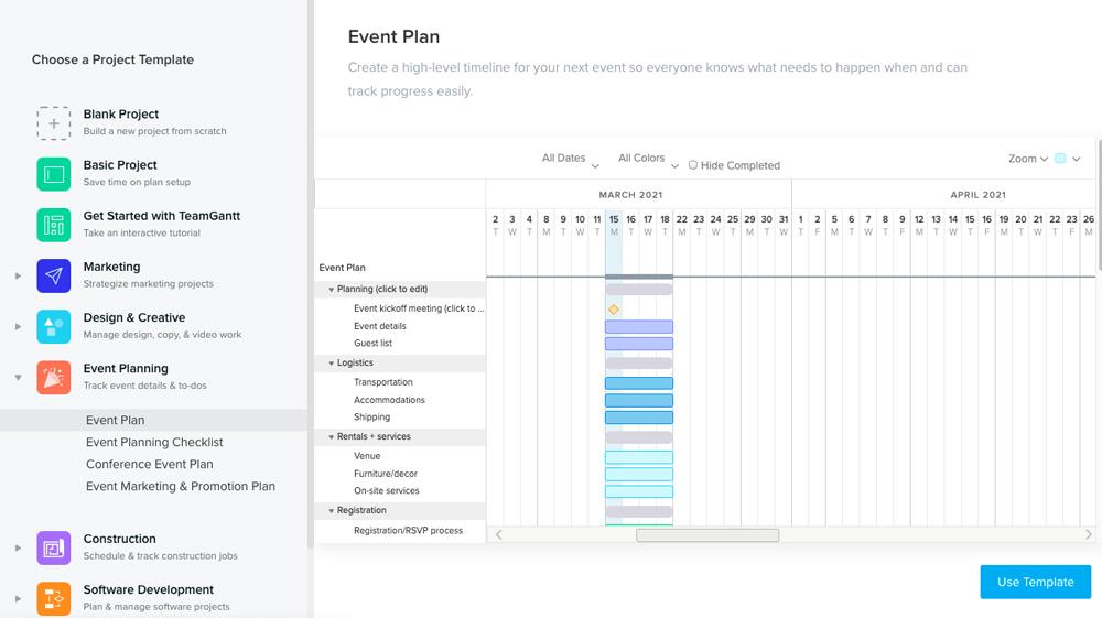 Dashboard nástroje TeamGantt, ve kterém je otevřený výběr šablon. Můžeme si vybrat šablony pro různé příležitosti.