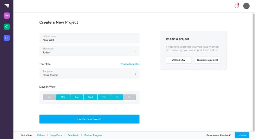 Dashboard nástroje TeamGantt, ve kterém právě probíhá vytvoření nového projektu. Stačí zadat pár údajů a projekt je hotový.
