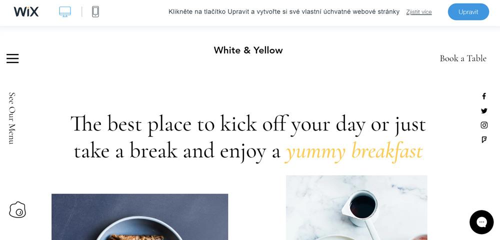 Jedna z více než 500 šablon na službě Wix. Tato šablona má tématiku kavárny, je elegantní a dominuje v ní bílá barva.