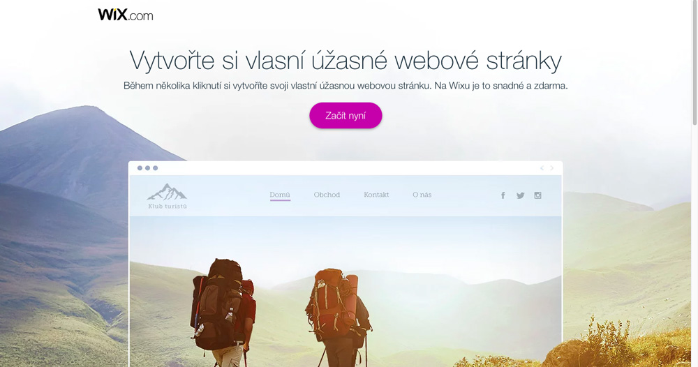Úvodní stránka služby Wix. Nejdůležitější je na ní tlačítko Začít nyní, přes které si na Wixu můžete otevřít účet.