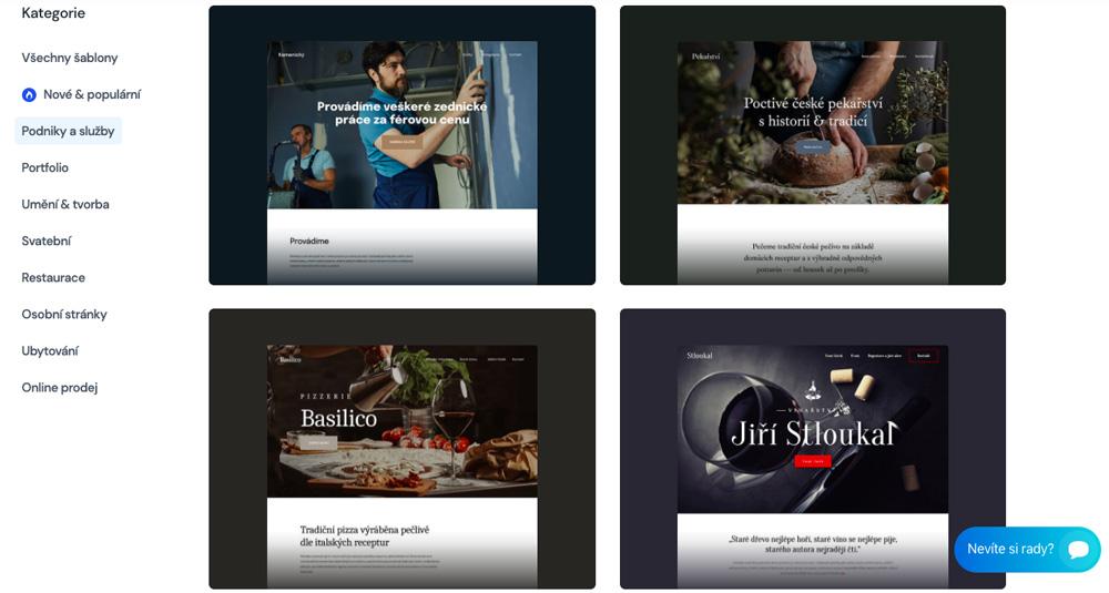 Šablony od nástroje Saywebpage. Na výběr je aktuálně přes 40 šablon. Šablony mají pěkný design.