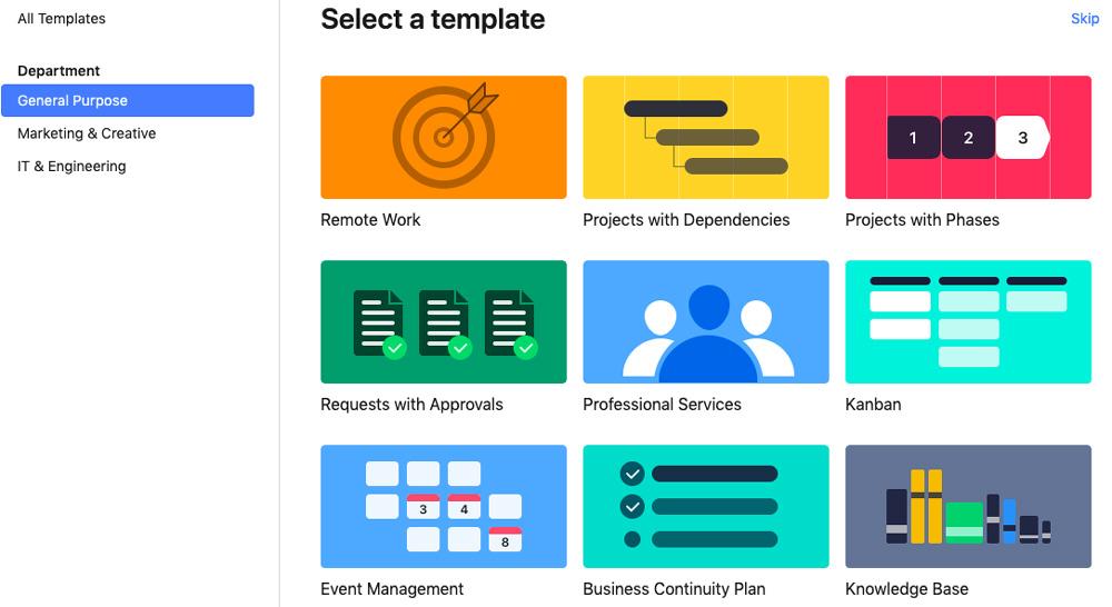 Výběr šablon u nástroje Wrike. V nabídce jsou šablony pro Event Management, analýzu konkurence nebo Knowledge Base.