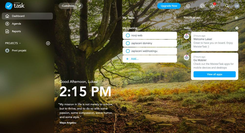 Domovská stránka nástroje MeisterTask. Najdete na ní seznam vašich úkolů, notifikace a některé funkce.