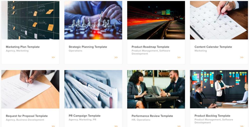 Osm různých šablon, které nabízí nástroj Hive. Je mezi nimi například šablona pro produktové roadmapy.